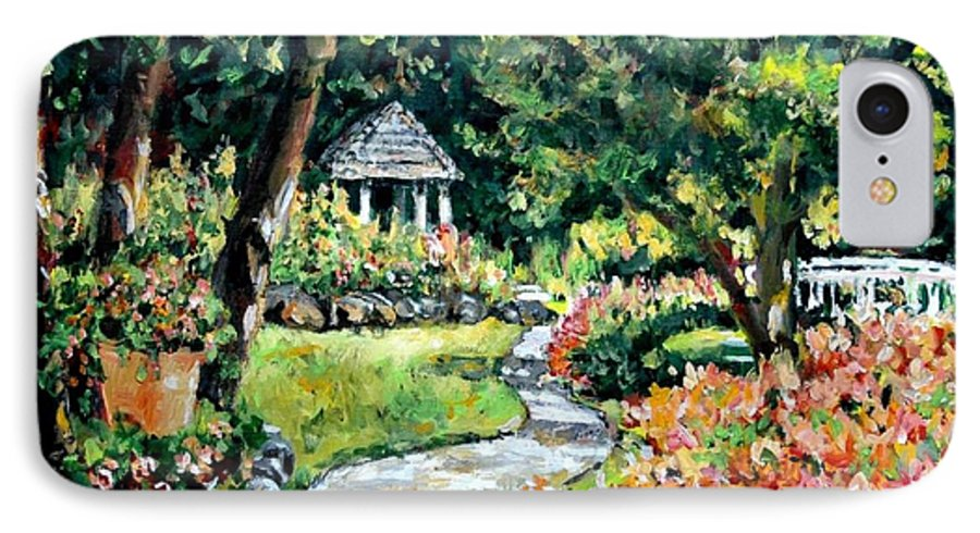 Landscape IPhone 7 Case featuring the painting La Paloma Gardens by Alexandra Maria Ethlyn Cheshire