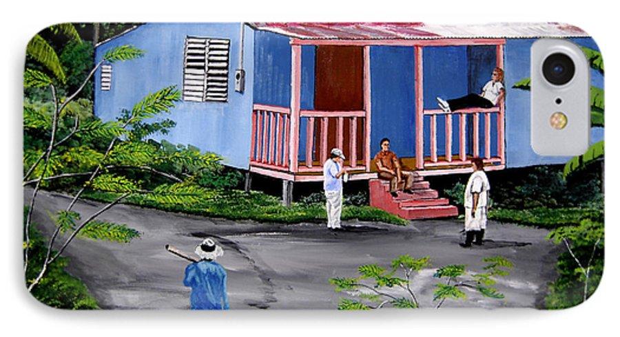 Campo IPhone 7 Case featuring the painting La Vida En Las Montanas De Moca by Luis F Rodriguez