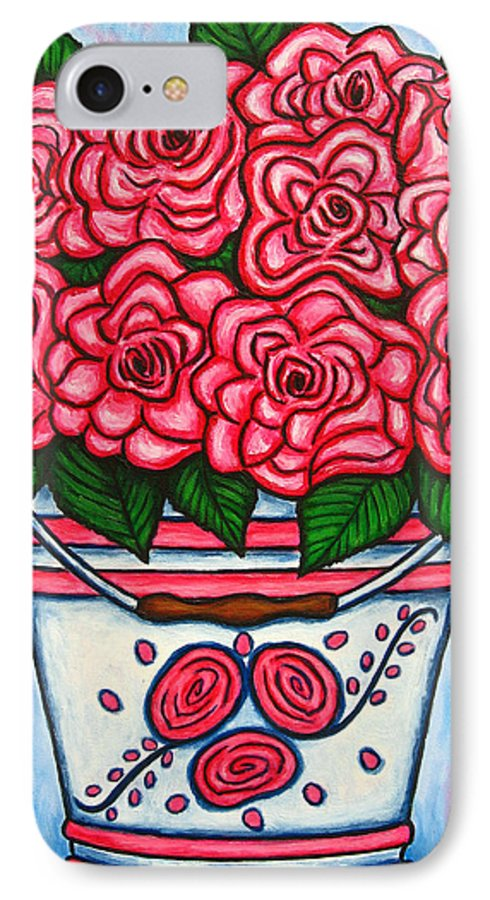Rose IPhone 7 Case featuring the painting La Vie En Rose by Lisa Lorenz