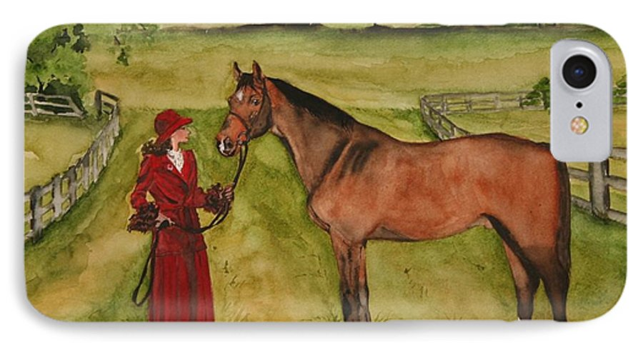 Horse IPhone 7 Case featuring the painting Lady And Horse by Jean Blackmer