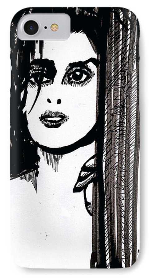 Sad Lady IPhone 7 Case featuring the drawing Lady At The Door by Seth Weaver