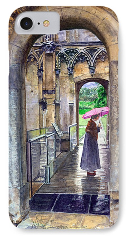 Glastonbury IPhone 7 Case featuring the painting Lady Chapel by John D Benson