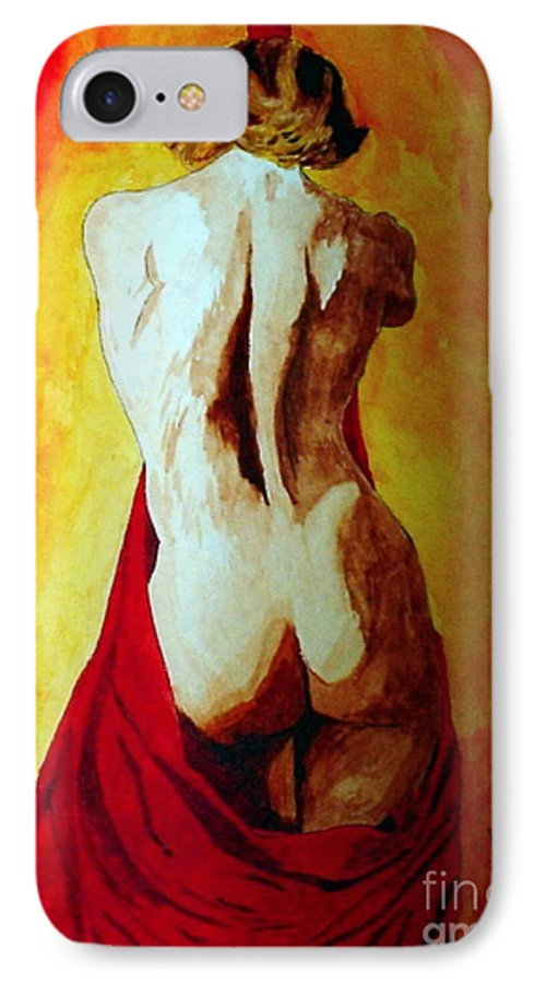 Nude Red Lady In Red IPhone 7 Case featuring the painting Lady In Red by Herschel Fall