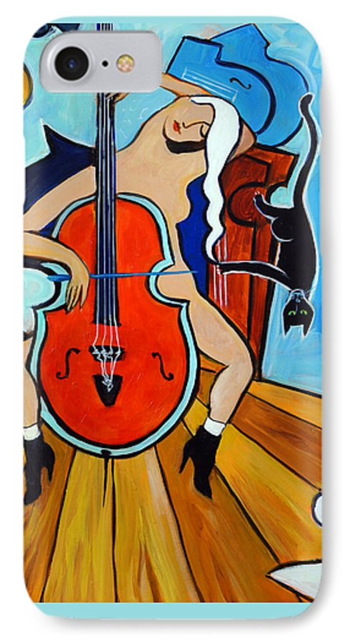 Musicians IPhone 7 Case featuring the painting Lady In Red by Valerie Vescovi