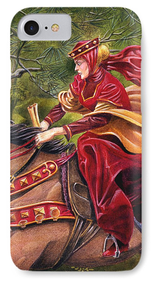 Camelot IPhone 7 Case featuring the painting Lady Lunete by Melissa A Benson