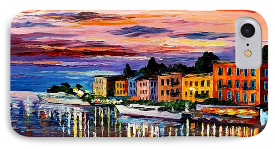 Cityscape IPhone 7 Case featuring the painting Lake Como - Bellagio by Leonid Afremov
