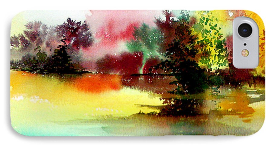 Nature IPhone 7 Case featuring the painting Lake In Colours by Anil Nene