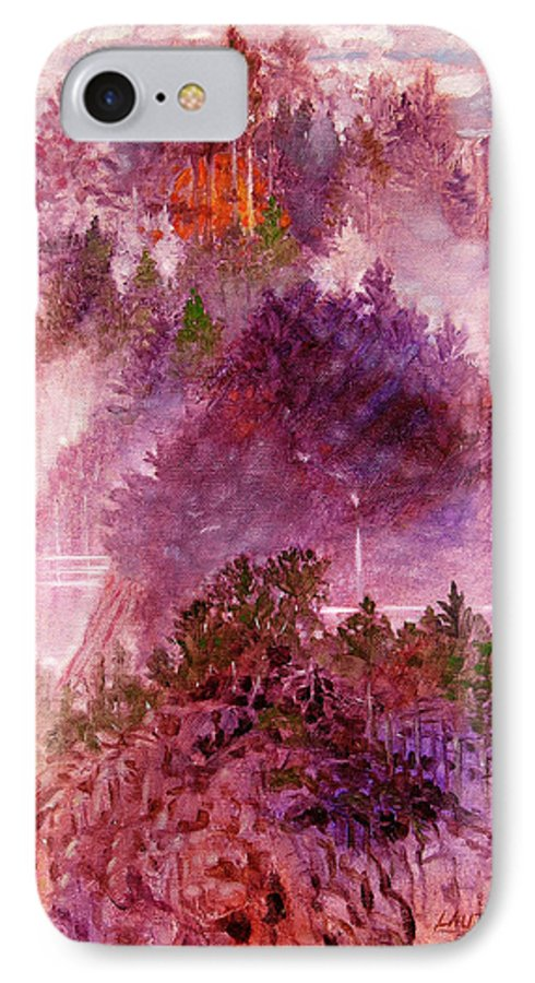 Landscape IPhone 7 Case featuring the painting Lake Memories by John Lautermilch