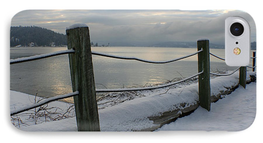 Fence IPhone 7 Case featuring the photograph Lake Snow by Idaho Scenic Images Linda Lantzy