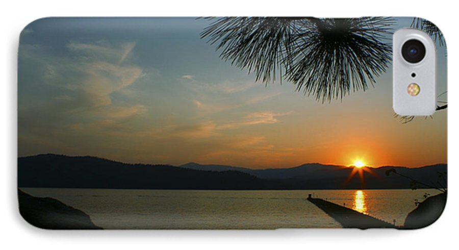 Sunset IPhone 7 Case featuring the photograph Lake Sunset by Idaho Scenic Images Linda Lantzy