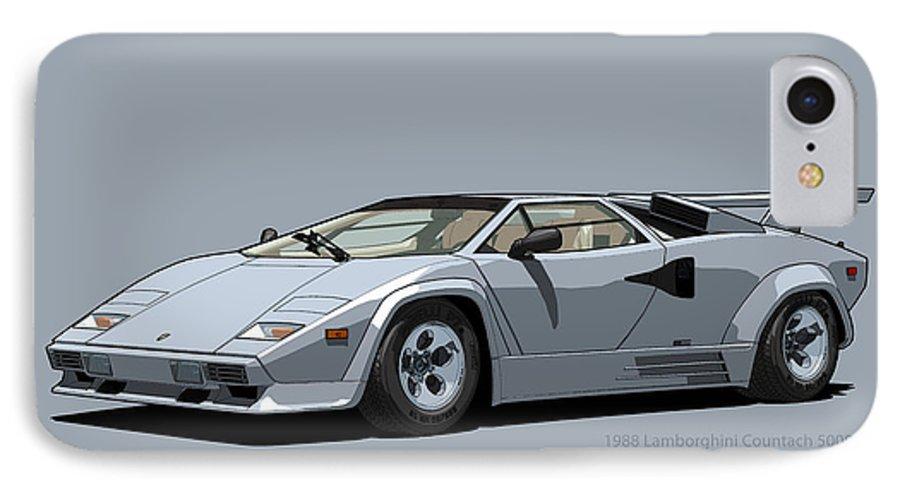 Lamborghini Countach 5000qv Argento Luna Us Spec Iphone 7 Case For