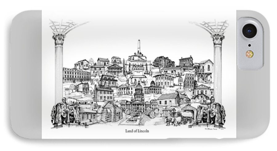 City Drawing IPhone 7 Case featuring the drawing Land Of Lincoln by Dennis Bivens