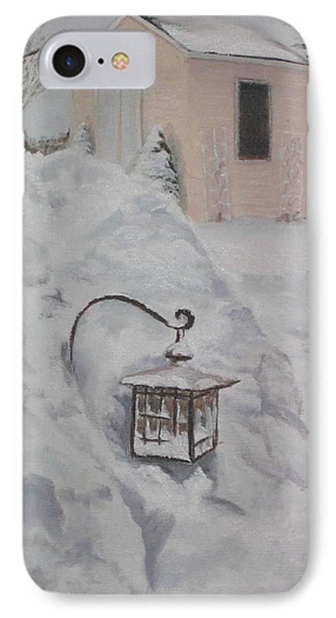 Snow IPhone 7 Case featuring the painting Lantern In The Snow by Lea Novak