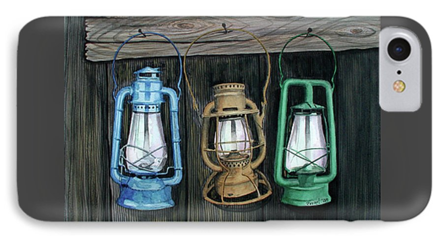 Lanterns IPhone 7 Case featuring the painting Lanterns by Ferrel Cordle