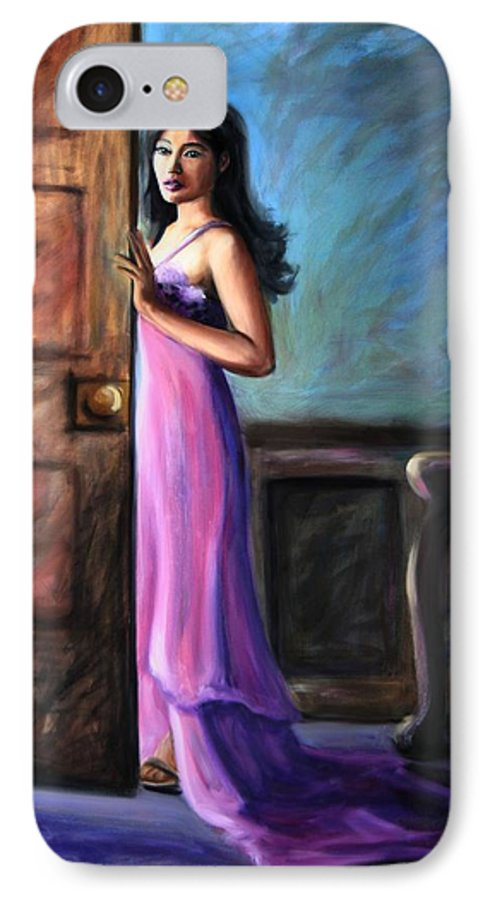 Woman IPhone 7 Case featuring the painting Last Glance by Maryn Crawford