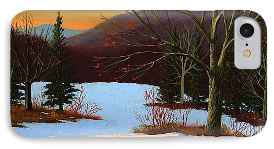 Winter IPhone 7 Case featuring the painting Last Light Of Day by Frank Wilson