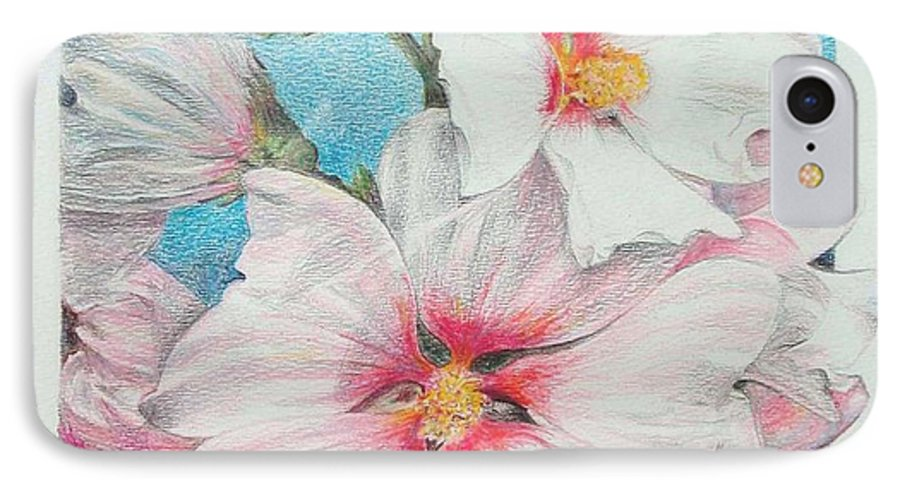Flower IPhone 7 Case featuring the painting Lavater by Muriel Dolemieux