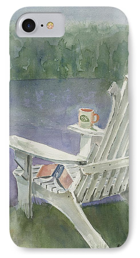 Chair IPhone 7 Case featuring the painting Lawn Chair By The Lake by Arline Wagner