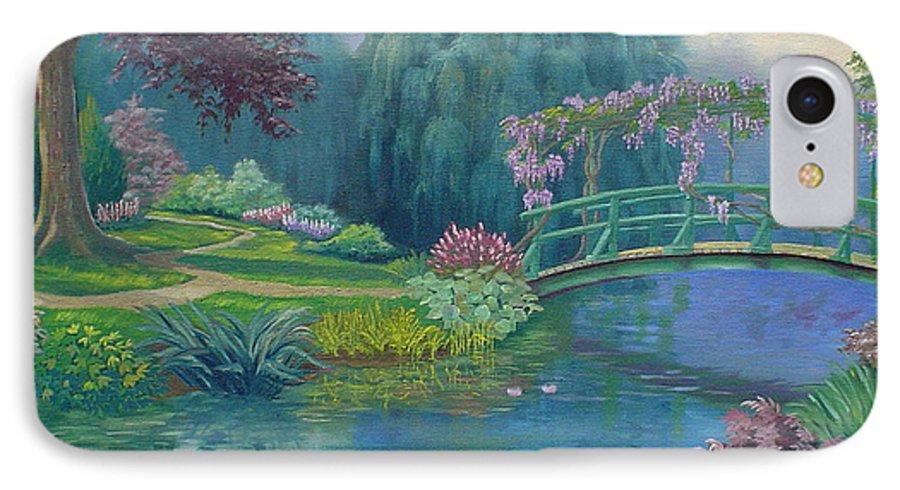 Landscape IPhone 7 Case featuring the painting Le Pont Japonais by Tan Nguyen