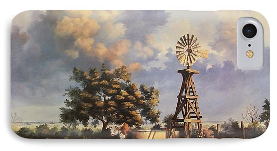 A New Mexico Landscape. IPhone 7 Case featuring the painting Lea County Memories by Wanda Dansereau
