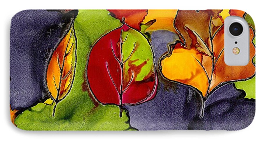 Leaf IPhone 7 Case featuring the painting Leaf Brilliance by Susan Kubes