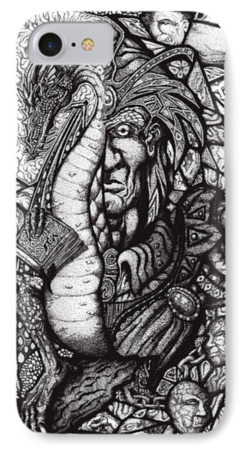 Pen And Ink IPhone 7 Case featuring the drawing Legend by Tobey Anderson