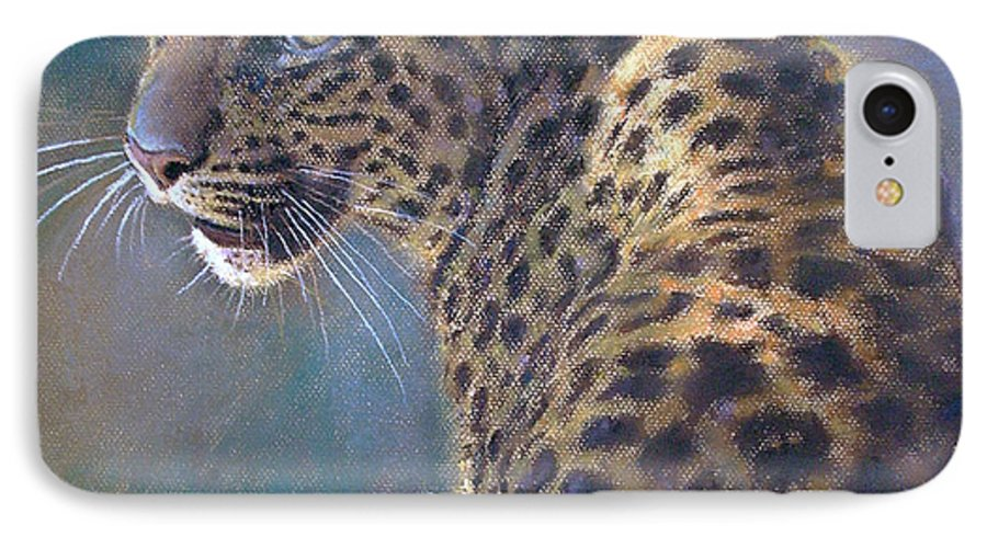 Cats IPhone 7 Case featuring the painting Leopard by Iliyan Bozhanov