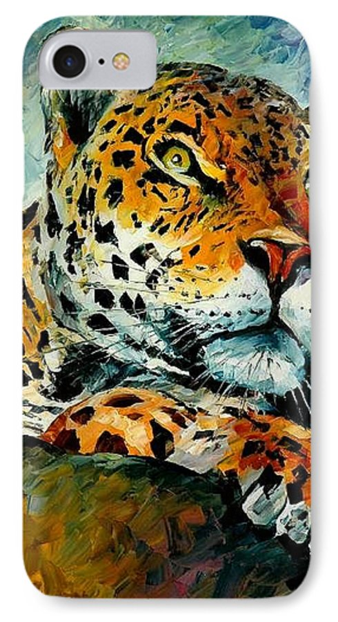 Animals IPhone 7 Case featuring the painting Leopard by Leonid Afremov