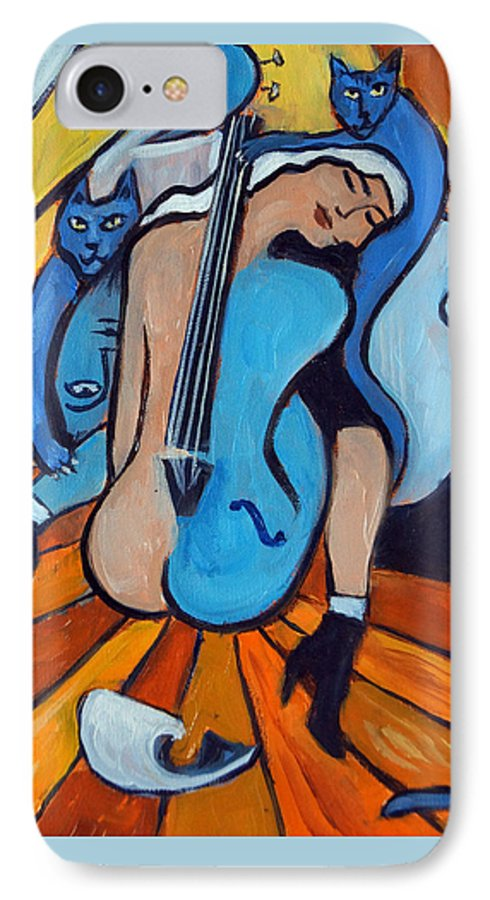 Cubic Abstract IPhone 7 Case featuring the painting Les Chats Bleus by Valerie Vescovi