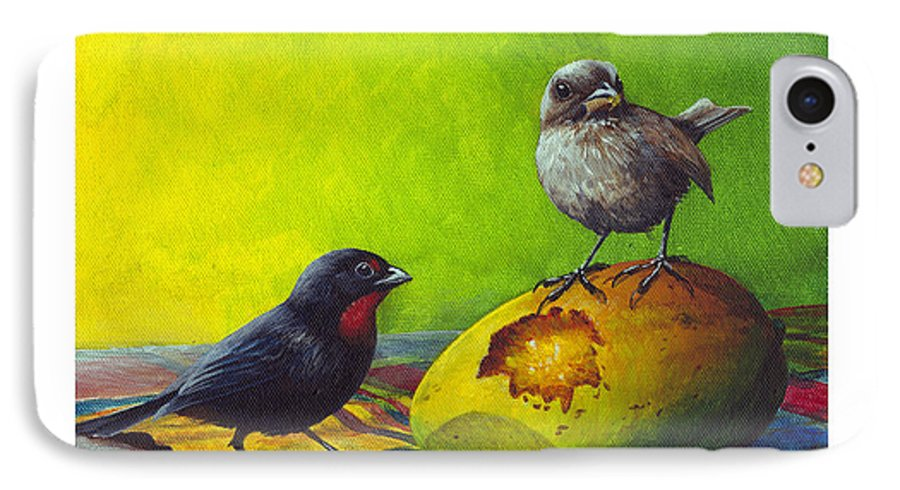 Chris Cox IPhone 7 Case featuring the painting Lesser Antillean Bullfinches And Mango by Christopher Cox
