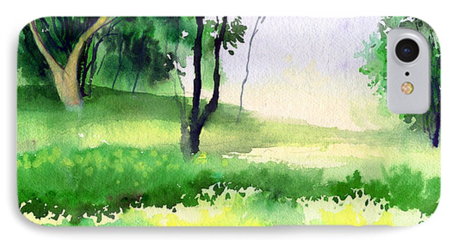 Watercolor IPhone 7 Case featuring the painting Let's Go For A Walk by Anil Nene