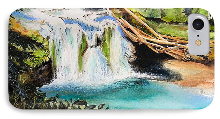 Water IPhone 7 Case featuring the painting Lewis River Falls by Karen Stark