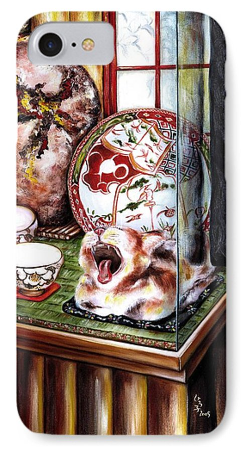 Cat IPhone 7 Case featuring the painting Life Is Beautiful by Hiroko Sakai