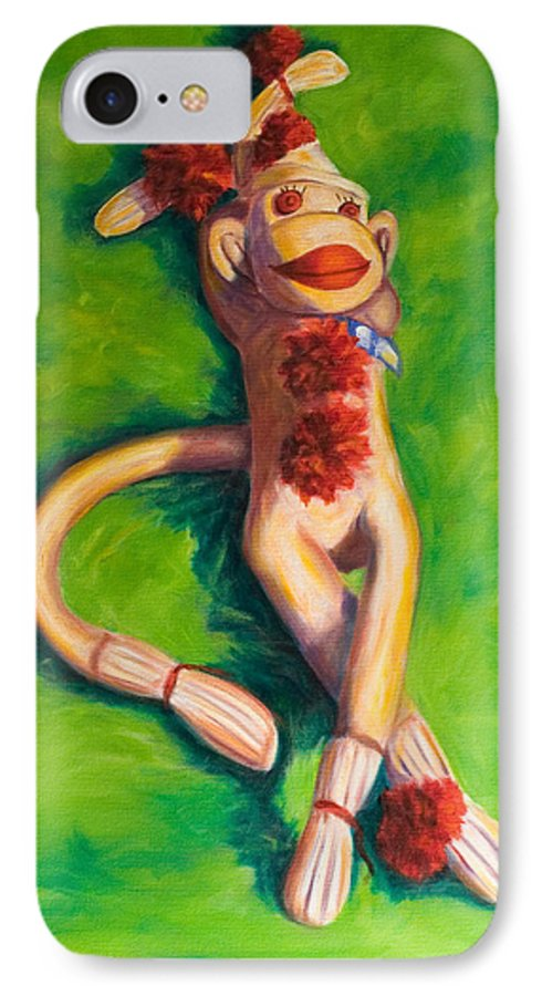 Sock Monkey IPhone 7 Case featuring the painting Life Is Good by Shannon Grissom