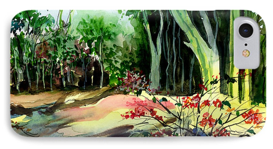Watercolor IPhone 7 Case featuring the painting Light In The Woods by Anil Nene