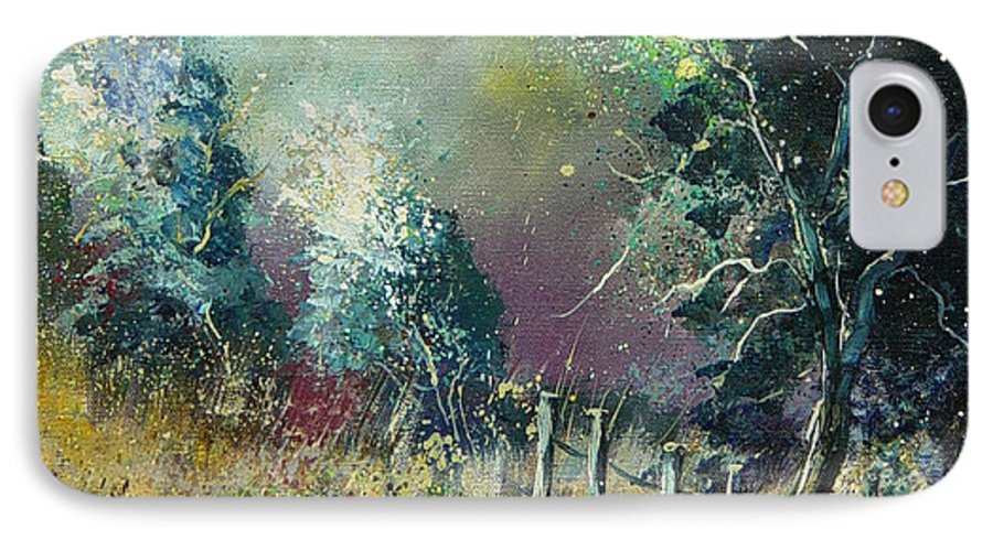 Landscape IPhone 7 Case featuring the painting Light On Trees by Pol Ledent