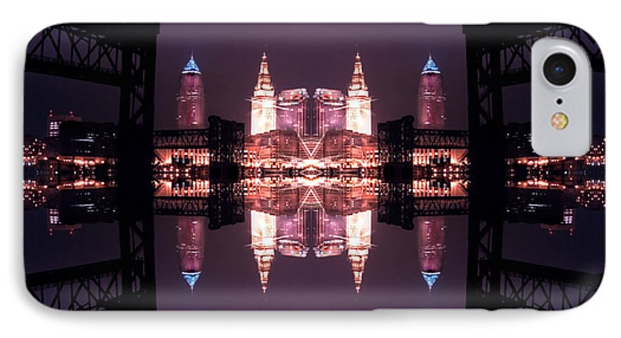 Cleveland IPhone 7 Case featuring the photograph Lights Buildings And Bridges by Kenneth Krolikowski