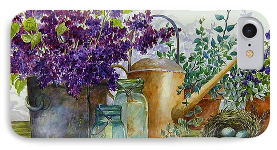Still Life;lilacs; Ball Jars; Watering Can;bird Nest; Bird Eggs; IPhone 7 Case featuring the painting Lilacs And Ball Jars by Lois Mountz