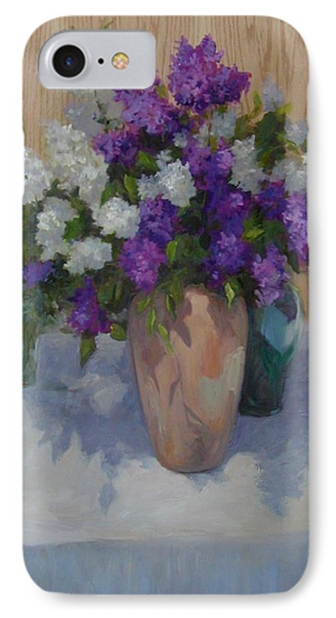 Lilacs IPhone 7 Case featuring the painting Lilacs by Patricia Kness