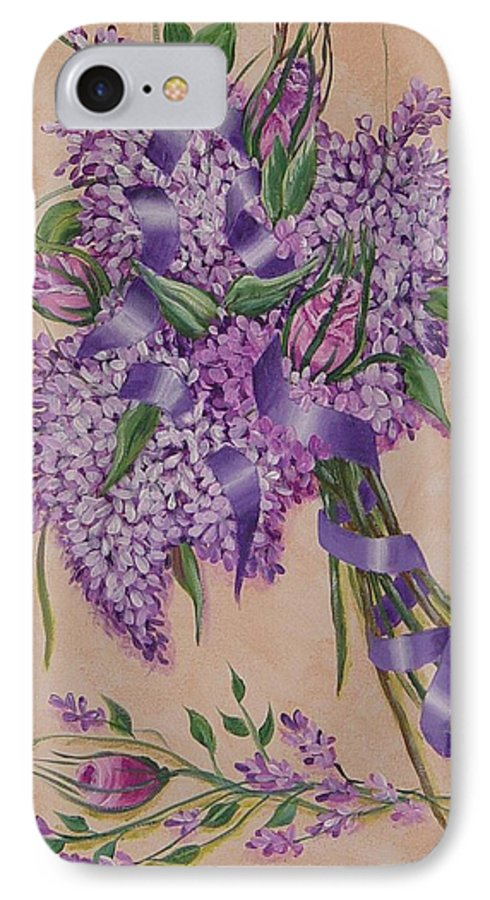 Lilacs IPhone 7 Case featuring the painting Lilacs by Quwatha Valentine
