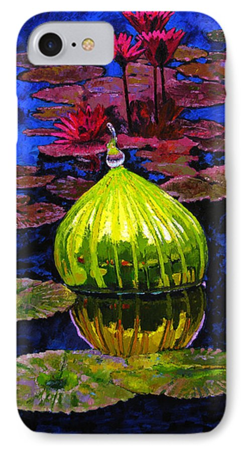 Blown Glass IPhone 7 Case featuring the painting Lilies And Glass Reflections by John Lautermilch