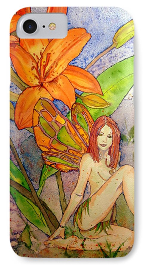 Faerie IPhone 7 Case featuring the painting Lillian Keeper Of Both Wealth And Pride - Watercolor by Donna Hanna