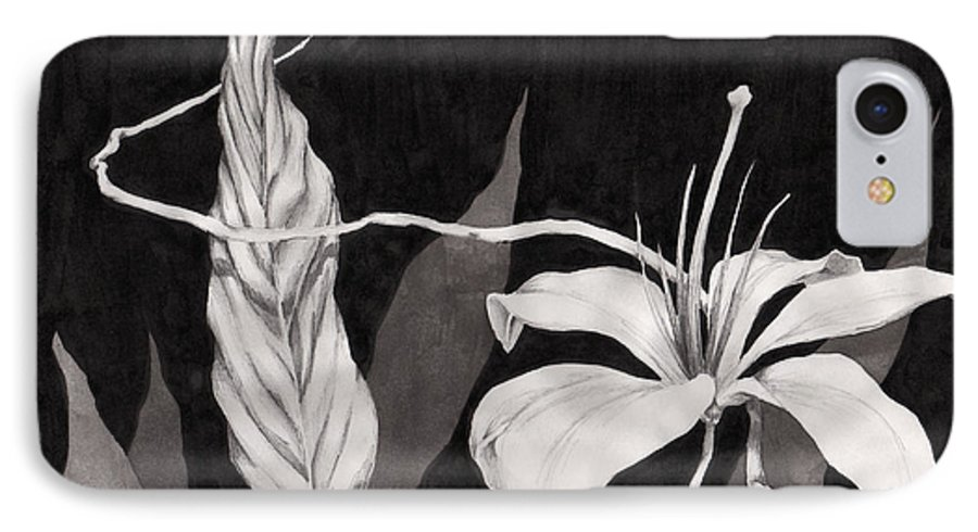 Ink Painting IPhone 7 Case featuring the drawing Lily In The Night by Jennifer McDuffie