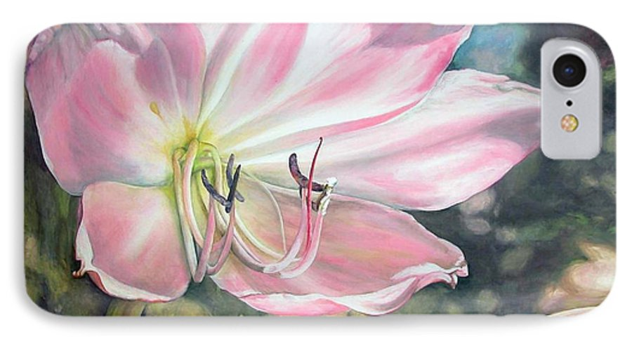 Floral Painting IPhone 7 Case featuring the painting Lily by Muriel Dolemieux