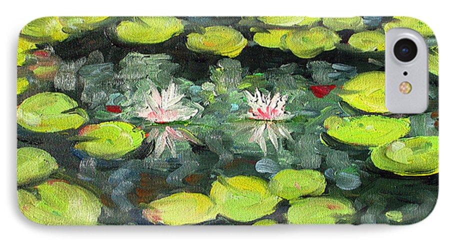 Pond IPhone 7 Case featuring the painting Lily Pond by Paul Walsh