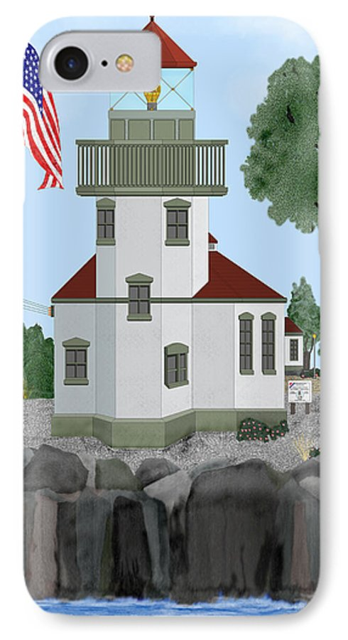 Lighthouses IPhone 7 Case featuring the painting Lime Kiln Light On San Juan Island by Anne Norskog