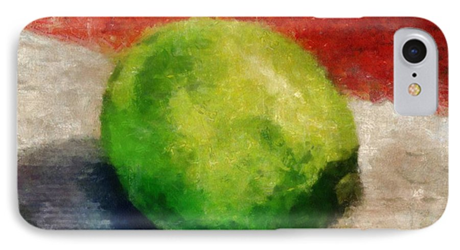 Lime IPhone 7 Case featuring the painting Lime Still Life by Michelle Calkins