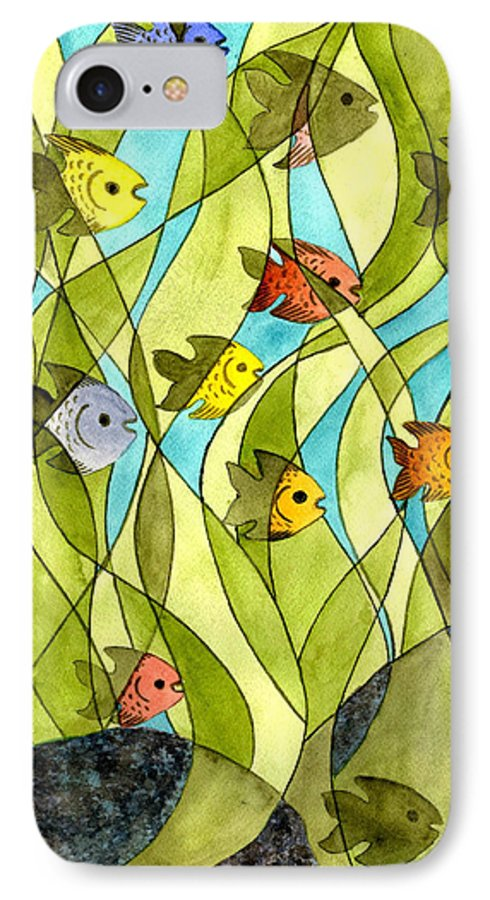 Fish IPhone 7 Case featuring the painting Little Fish Big Pond by Catherine G McElroy