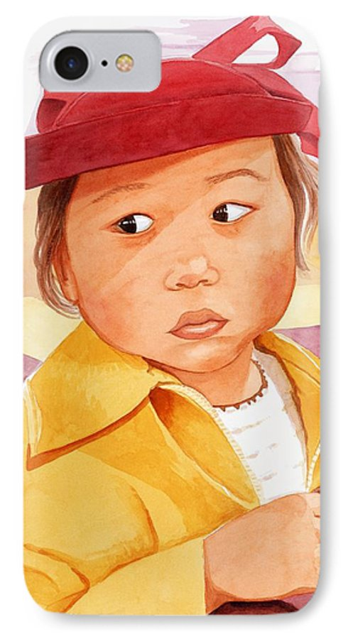 Little Japanese Girl In Red Hat IPhone 7 Case featuring the painting Little Girl In Red Hat by Judy Swerlick