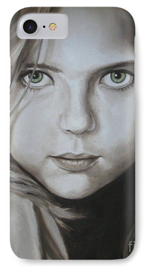 Portrait IPhone 7 Case featuring the painting Little Girl With Green Eyes by Jindra Noewi